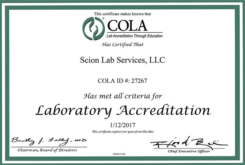 Accredited by the Commission on Office Laboratory Accreditation (COLA)